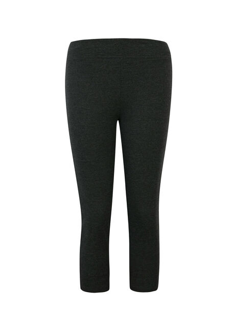 Ladies' Wide Waistband Capri Legging, CHARCOAL, hi-res