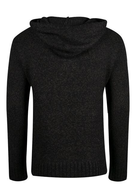 Men's Hooded Henley Sweater, BLACK, hi-res