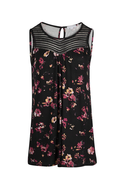 Ladies' Floral Lace Yoke Tank