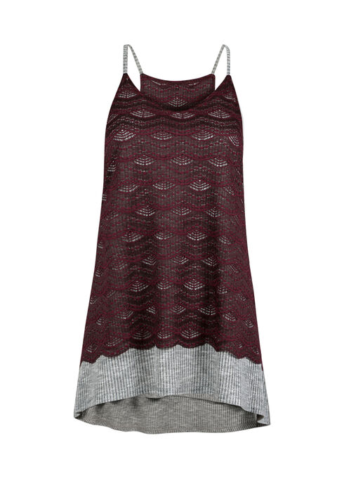 Ladies' Lace Overlay Tank, WINE, hi-res
