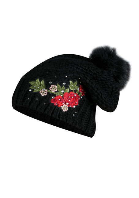 Ladies' Floral Pom Pom Hat