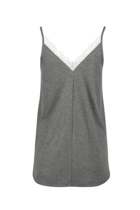 Ladies' Double V-Neck Tank, CHARCOAL/WHITE, hi-res