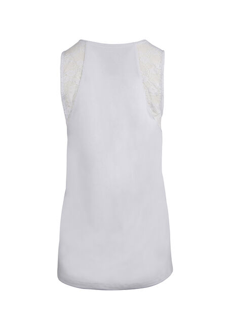 Ladies' Lace Trim Tank, WHITE, hi-res