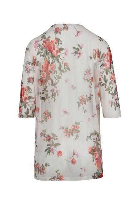 Ladies' Floral Mesh Kimono, WHITE, hi-res