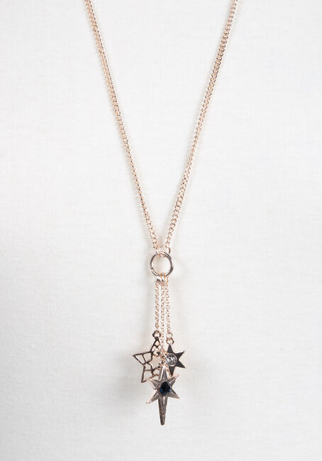 Ladies' Long Cluster Stars Necklace, GOLD, hi-res