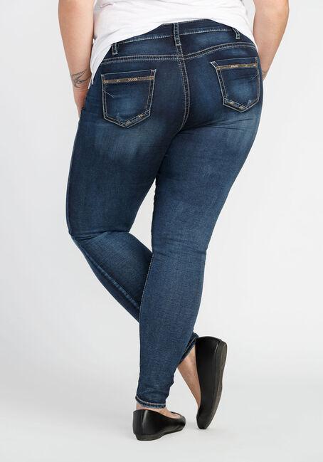 Ladies'  Plus Size Skinny Jeans, MEDIUM VINTAGE WASH, hi-res