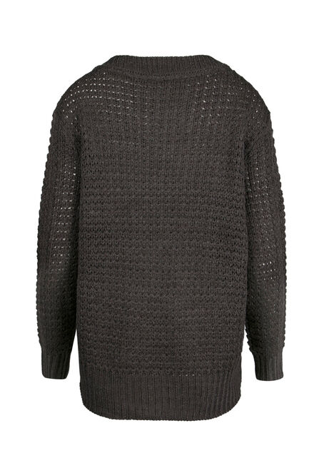 Ladies' Cable Knit Sweater, ASH GREY MELANGE, hi-res