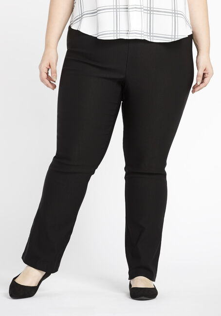 Ladies' Plus Size Slim Boot Dress Pants, BLACK, hi-res