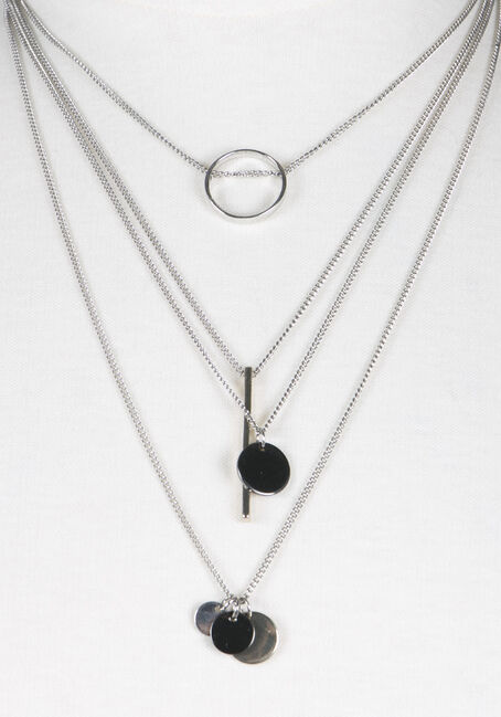 Ladies' 4 Row Geometric Necklace, MIXED METALS, hi-res