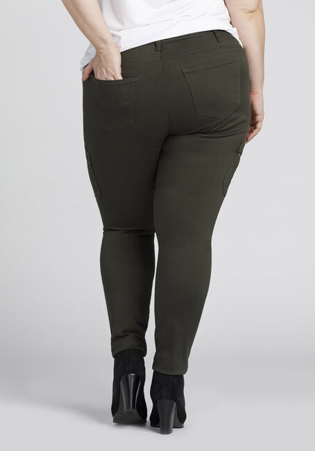 Ladies' Plus Size Skinny Cargo Pants, DARK OLIVE, hi-res