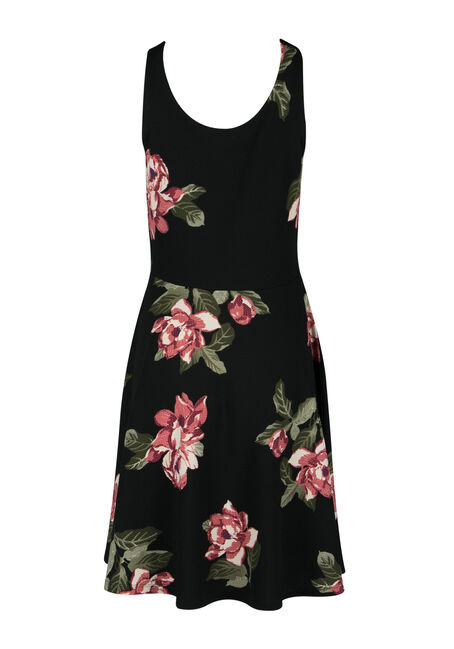 Ladies' Fit & Flare Dress, BLACK PRINT, hi-res
