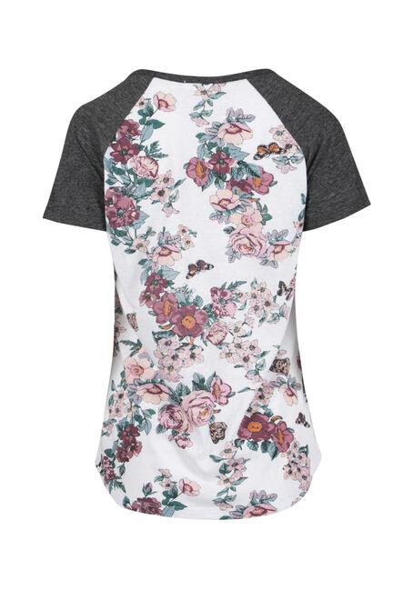 Ladies' Floral Print Baseball Tee, WHITE, hi-res