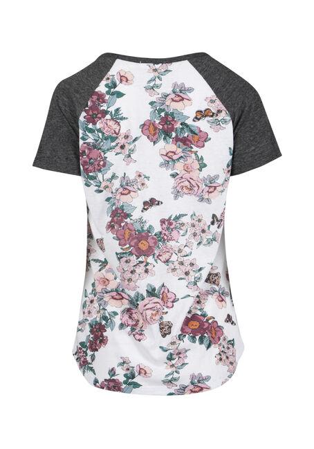 Ladies' Floral Print Baseball Tee, WHITE, hi-res