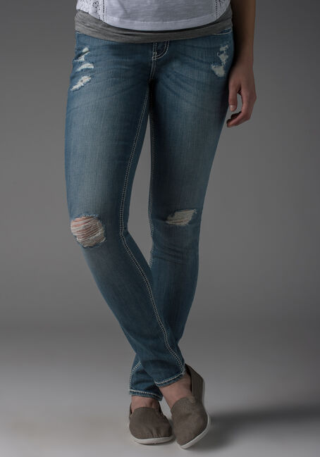 Ladies' Skinny Destroyed Jeans, LIGHT VINTAGE WASH, hi-res