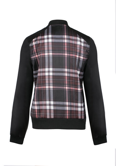 Ladies' Plaid Bomber Jacket, WINE, hi-res