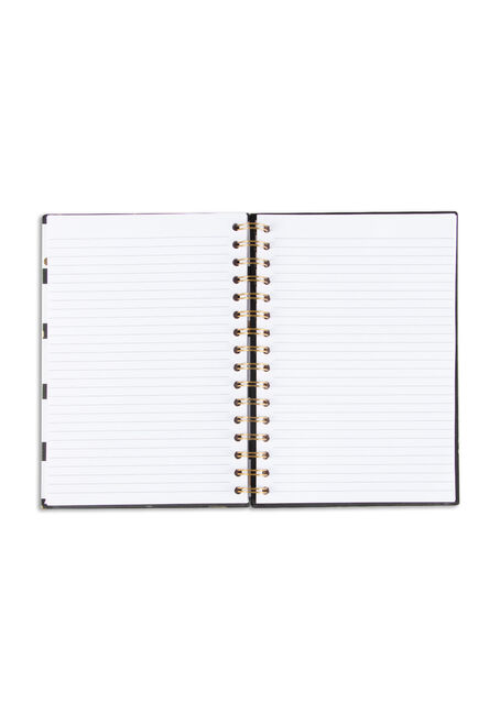 Stripes & Dots Notebook, BLK/WHT, hi-res