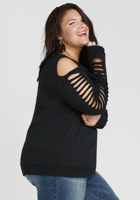 Ladies' Shredded Sleeve Fleece, BLACK, hi-res