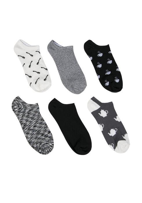 Ladies'  6 Pair Tea Time Socks, BLK/WHT, hi-res