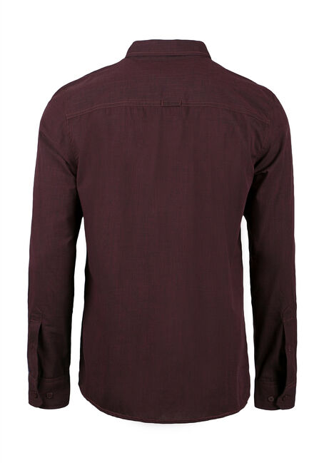 Men's Relaxed Textured Shirt, BURGUNDY, hi-res