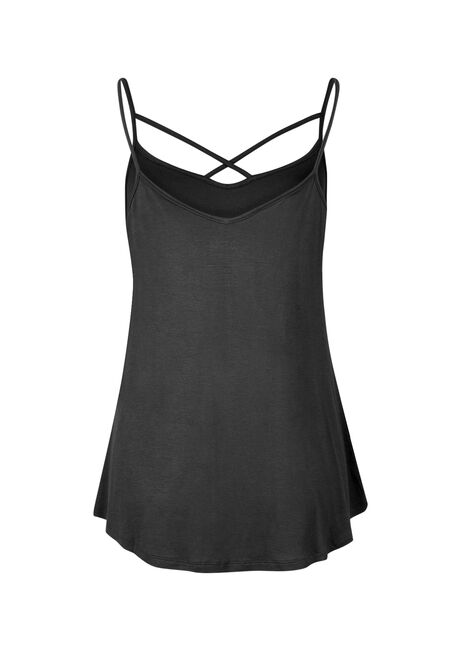 Ladies' Cage Front Strappy Tank, BLACK, hi-res