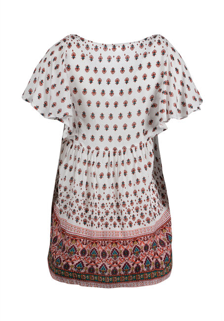 Ladies' Twin Print Peasant Top, IVORY, hi-res
