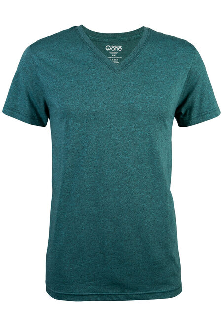 Men's V-neck Flecked Tee, TURQUOISE, hi-res