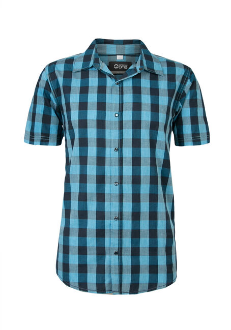Men's Buffalo Plaid Shirt, TEAL, hi-res