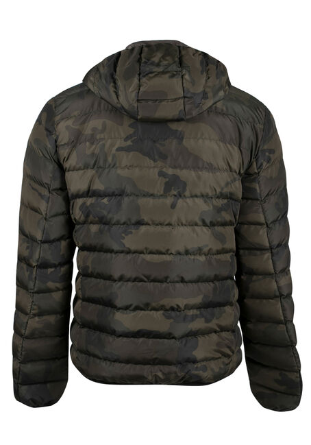 Men's Camo Puffy Jacket, KHAKI, hi-res