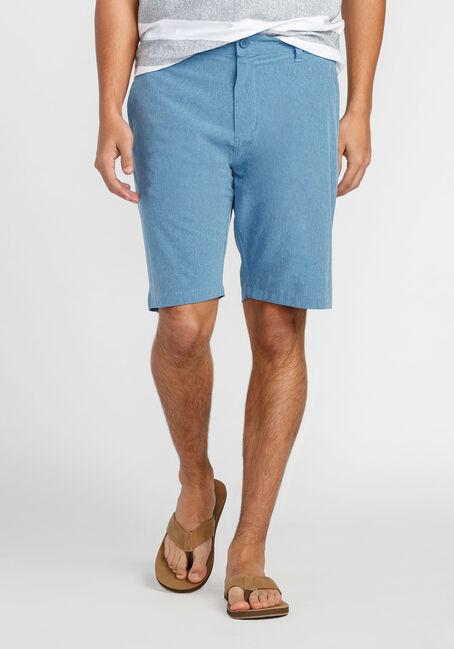 Men's Flat Front Hybrid Short, BLUE, hi-res