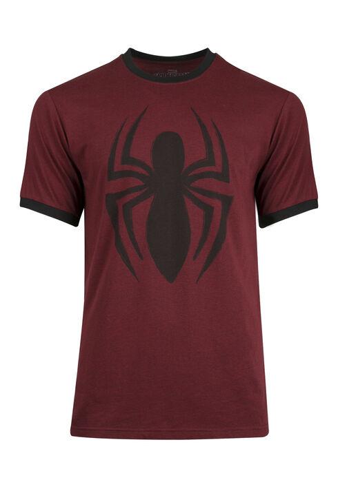 Men's Spiderman Ringer Tee, BURGUNDY, hi-res