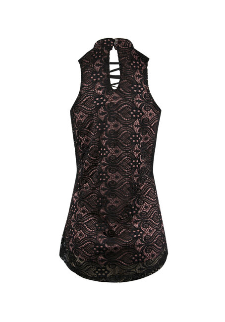 Ladies' Crochet Overlay Lace Tank, BLUSH, hi-res