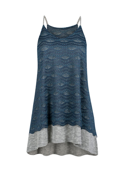 Ladies' Lace Overlay Tank, MIRAGE BLUE, hi-res