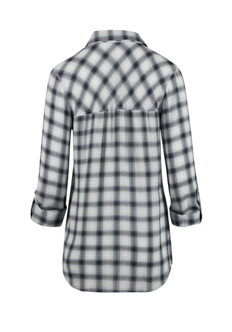 Ladies' Crinkle Plaid Shirt, LIGHT BLUE, hi-res