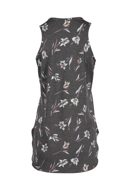 Ladies' Floral Tunic Tank, CHARCOAL, hi-res