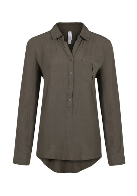 Ladies' Henley Crinkle Shirt, MILITARY, hi-res