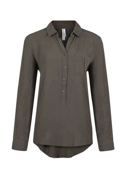 Ladies' Henley Crinkle Shirt, MILITARY, hi-res