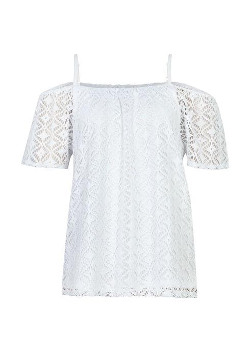 Ladies' Cut Out Cold Shoulder Top, WHITE, hi-res