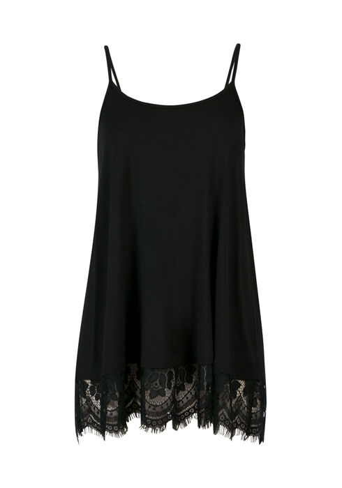 Ladies' Lace Trim Tunic Tank, BLACK, hi-res