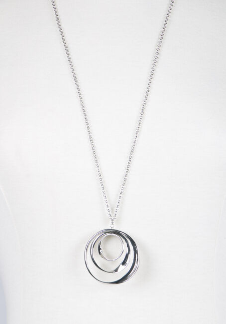 Ladies' Trio Curved Circles Necklace, RHODIUM, hi-res