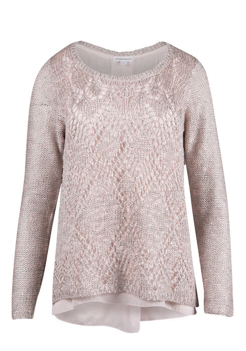 Ladies' Sequin Sweater, BLUSH, hi-res