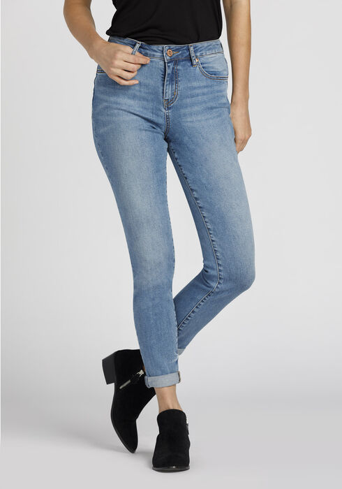 Ladies' Retro High Rise Girlfriend Jeans, LIGHT VINTAGE WASH, hi-res