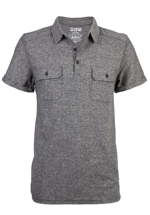 Men's Short Sleeve Polo Tee, CHARCOAL, hi-res