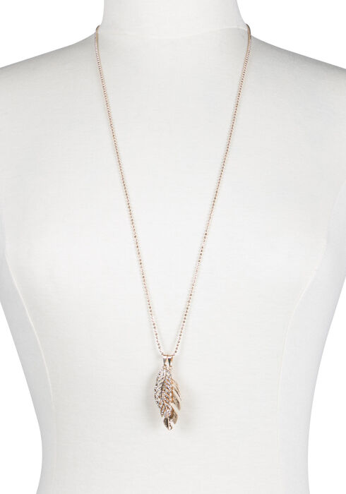Ladies' Double Leaf Necklace, GOLD, hi-res