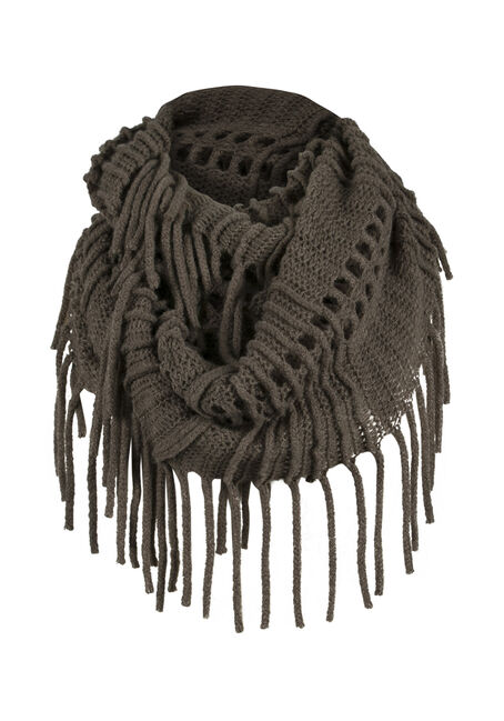Ladies' Fringed Infinity Scarf, DARK OLIVE, hi-res