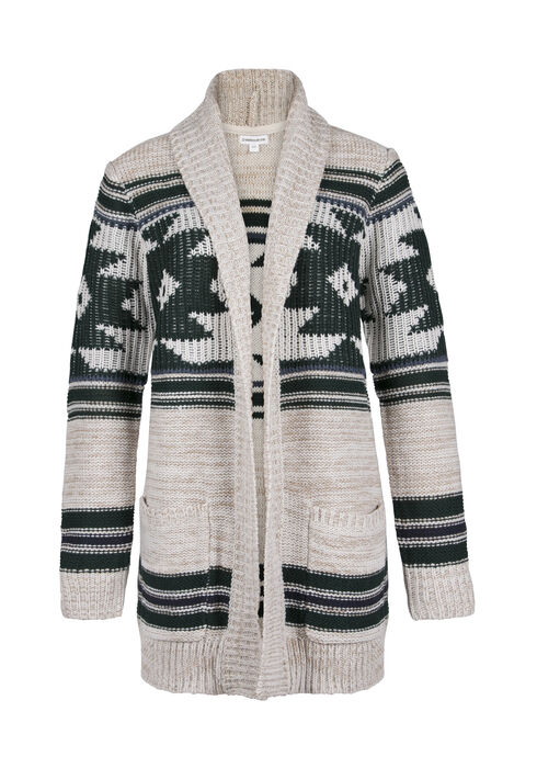 Ladies' Aztec Open Cardigan, OATMEAL, hi-res