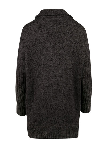 Ladies' Cross Over Cardigan, CHARCOAL, hi-res