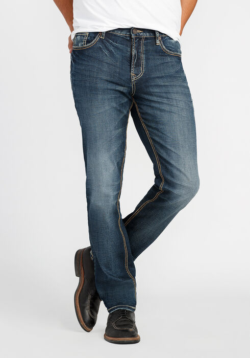 Men's Slim Fit Jeans, DARK VINTAGE WASH, hi-res