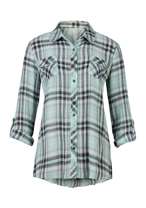 Ladies' Crinkle Plaid Shirt, MORNING MIST, hi-res