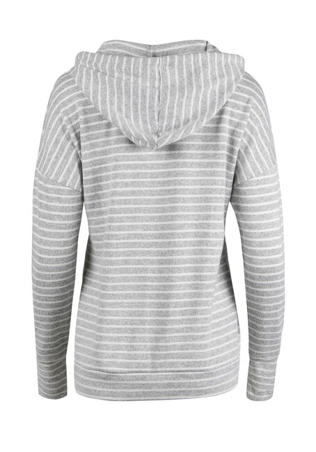 Ladies' Super Soft Stripe Hoodie, HEATHER GREY/ IVORY, hi-res