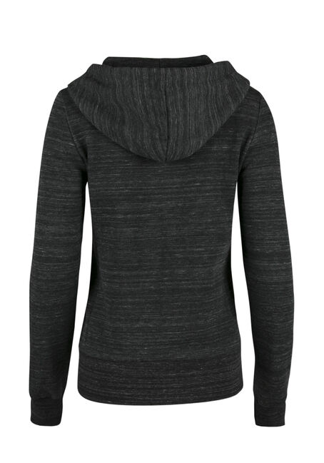 Ladies' Love Zip Front Hoodie, MARLED BLACK, hi-res